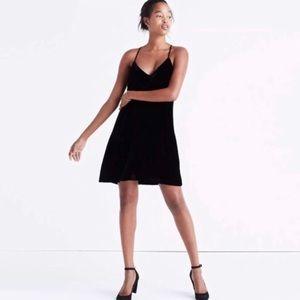 Madewell Black Velvet Tank Dress 12